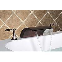 UHM Arrivo!Dual gestisce il ponte dell'olio montata sul bronzo strofinata vasca rubinetto miscelatore
