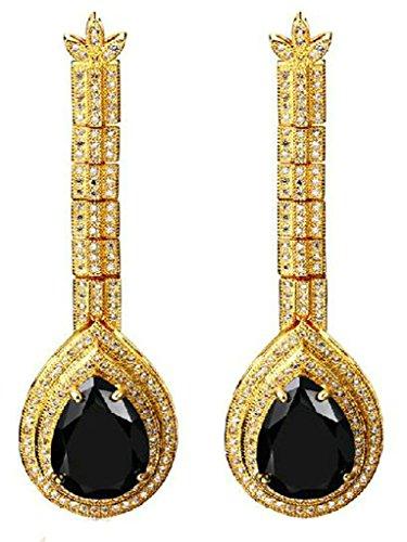 Frauen Tropfen Ohrringe Vergoldet Schwarz Glitzernden Spiegel Drop Cz Kristall Drill Von Aienid