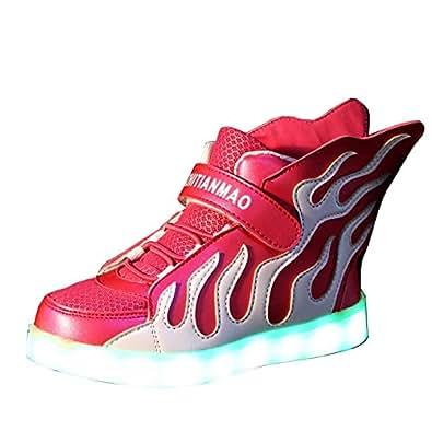 Gaorui Kinder Jungen Mädchen LED leuchtende Sneakers Sportschuhe mit 2 super tolle Flügel, Unisex USB Turnschuhe Größe 24 bis 36, 4 Farbe Modes Shoes