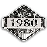 Distressed envejecido Vintage 1980Edition Classic Retro vinilo coche moto Cafe Racer Casco Adhesivo Insignia 85x 70mm