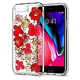 RE iPhone 7Plus Coque iPhone 8Plus Coque, Paillettes pétales de Fleurs séchées...