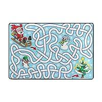 Orediy Soft Rugs Santa Christmas Tree Snowman Maze Lightweight Area Rugs Kids Playing Floor Mat Non Slip Yoga Rug for Living Room Bedroom
