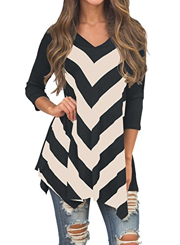 miholl-womens-tunic-3-4-sleeve-v-neck-striped-tunic-top-black-x-large