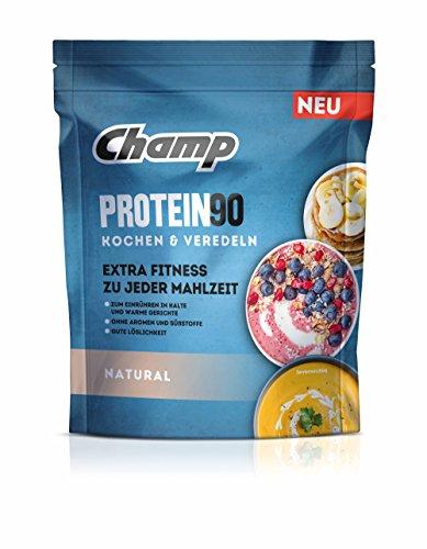 Champ Protein 90 Eiweißpulver, Proteinpulver mit 85 {2f18422d127b24507e7fe6c4e83e7616ffb63f3452e37974ac83757584345c8f} Eiweißgehalt zum Kochen & Veredeln, geschmacksneutral, 360 g