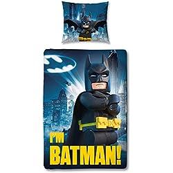 Juego de ropa de cama con funda nórdica de 140 x 200 cm y 1 funda de almohada de 63 x 63 cm, temática Lego Batman, 100% algodón