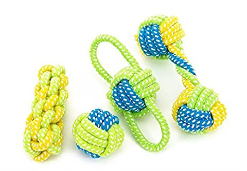 K&C Durable Knot Cotton Rope Dog Tooth Cleaning Cotton Rope Ball Toys with Tug Pet Chew Toys Set of 4