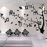 Alicemall Stickers Autocollants Muraux Amovibles 3D en Acrylique Arbre avec des Branches Incurvées et des Cadres de Photo et des Oiseaux (Feuilles Noires vers Gauche)...
