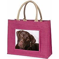 Chocolate Labrador Large Pink Shopping Bag Christmas Present Idea