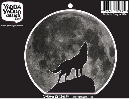 PS-110 - Wolf Howling at Full Moon - Peel and Stick Vinyl Decal - Copyright YYDC (4.5