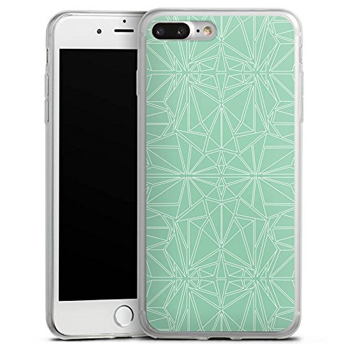 Apple iPhone 8 Plus Slim Case Silikon Hülle Schutzhülle Muster Mint Streifen Silikon Slim Case transparent