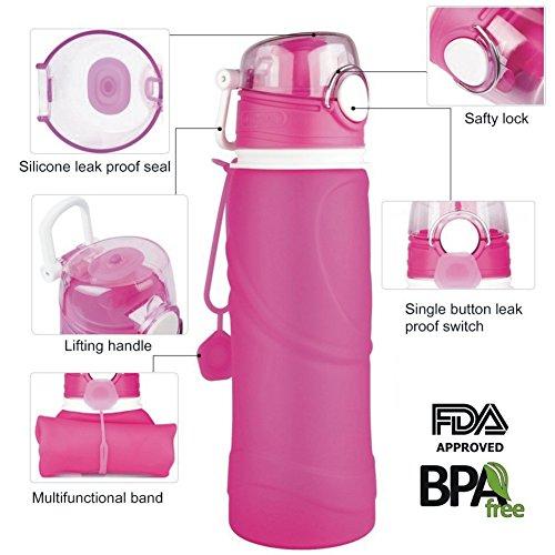 Faltbare Silikon Wasserflasche BPA Frei,750ML Tragbare und Auslaufsichere Umweltfreundlich Sportflasche für Outdoor, Reisen,Laufen,Radfahren, Wandern, Camping und Fitnessstudio Rot