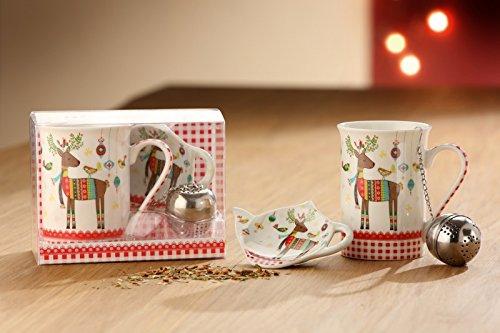 GILDE Teeset Rentierfreunde 3-TLG. Set Geschenkverpackung