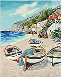 Benaya Ceramic Wandschild Keramik Fliesen Bild Kunst Handgefertigt: Angeln Village 27,9x 35,6cm