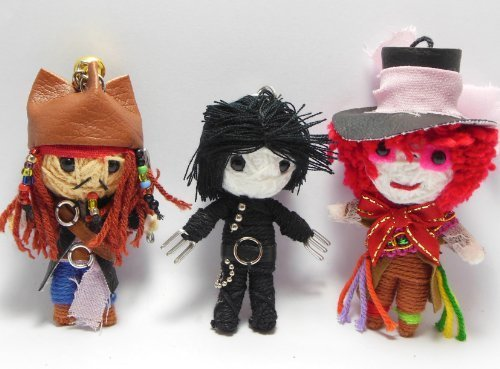 Johnny Depp Set 3 x Voodoo String Doll Keychain Jack Sparrow, Mad Hatter, Edward Scissor Hand by String Doll World (String Set Doll)