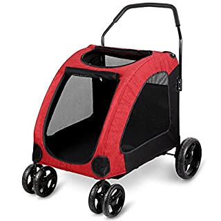 Amzdeal Large Pet Stroller Dog Trolley with Top Window Suitable for 15 – 45Kg – Red