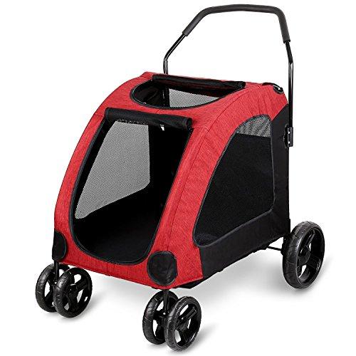 Amzdeal Passeggino per Cani, Carico Max 50 kg, Ampio Spazio, Anti-Shock, Smontabile, per Cani di Taglia Grande, Media, Piccola - Rosso