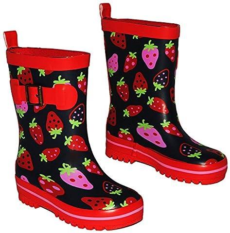 Gummistiefel - rote Erdbeeren - Größe 22 - für Kinder / Mädchen - Naturkautschuk + Innenfutter Baumwolle / Handbemalt mit 3-D Effekt - rot Erdbeere / Erdbeer - Regenstiefel aus Naturgummi