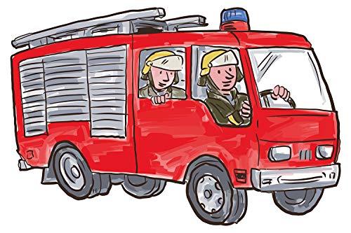 feuerwehr wandtattoo Wandtattoo Kinderzimmer Feuerwehr Auto mit Feuerwehrmännern Wandsticker