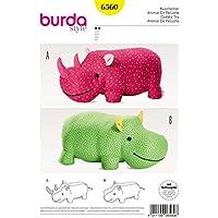 Burda patrón de costura para Rhino o hipopótamo grandes animales de peluche para Little ...