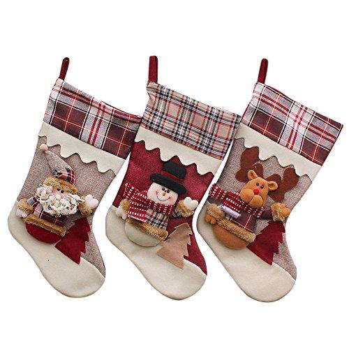 Freesoo 3pcs calcetines Medias Navidad Bolsa regalo