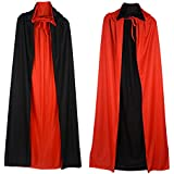 Double Face Satin Red Black Hooded Halloween Cloak Vampire Priate Cape
