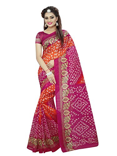 Kanchnar Women's Pink Art Silk Bandhani Printed and Border Saree