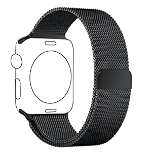 Apple Watch Bracelet 42mm Noir, PUGO TOP Magnétique Bracelet Milanais Acier Inoxydable Strap Band pour Apple Watch Sport / Edition 42mm