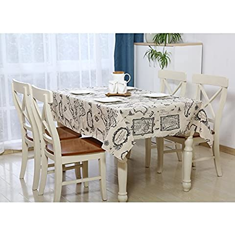 Depthlan vintage cotton linen tablecloth, multi-function printed rectangular tablecloth home textile, dining-tablecloth cover table decoration 60x84 inch (145x213