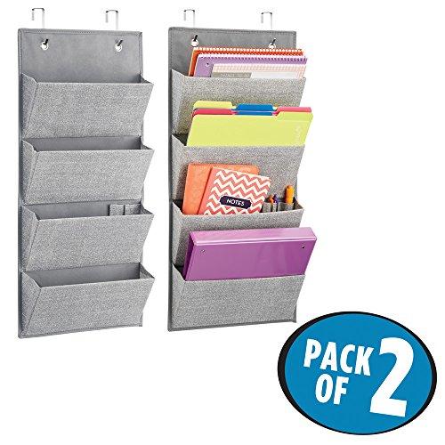 Mdesign portaoggetti set da 2 – organizer in iuta – portaoggetti da appendere alla porta o al muro con 4 sezioni – per l'ufficio - grande