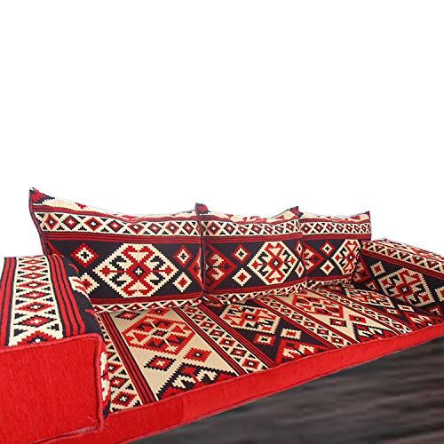 Handgefertigte Boden-Sofa-Set, arabische Majlis, arabische Jalsa, Boden Sitzcouch, Boden Kissen, orientalischen Boden Sitzgelegenheiten, Hookah Bar Möbel, Wohnzimmer Dekoration, Kelims Sofa-Set -