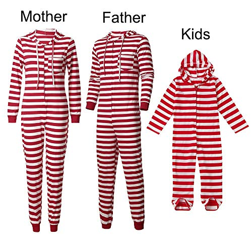 Amlaiworld Conjunto de Familiares Ropa De Dormir Pijama de Navidad Rayas Camisetas de Manga Larga Mujer Hombre Bebé Niño Niña Mono Traje De Navidad Pijama Familia