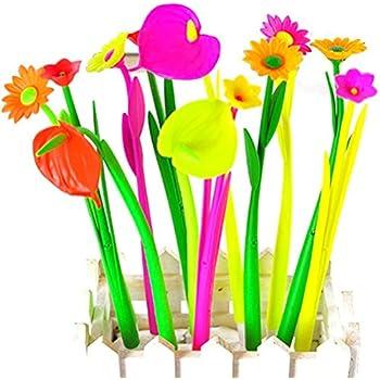 drawihi Lot de 12/Simulation Plante Fleurs /ölfeder cor/éenne cr/éatifs Bureau Papeterie niedlichen Fleurs souple en silicone Stylo bille