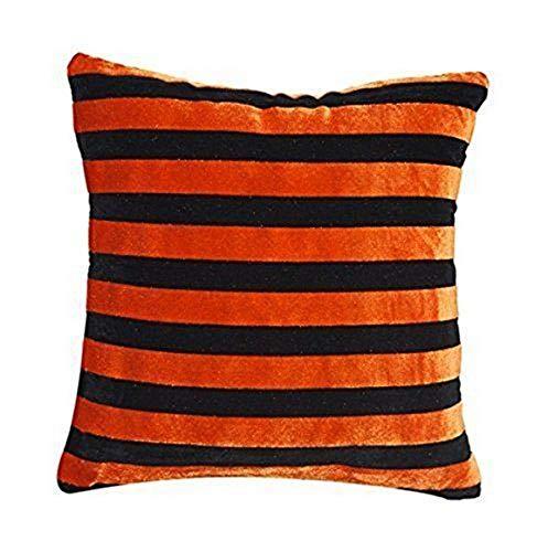Schwarz & Orange Chenille Streifen Kissenbezug Zeitgenössisch Stil Für Sofabett 16-Zoll X 16 Zoll -