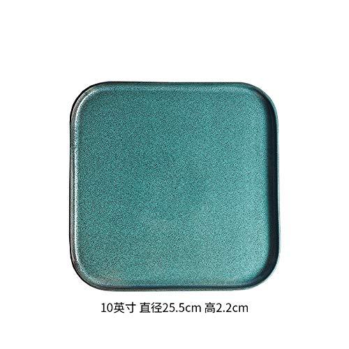 e Steakplatte Quadratische Platte Europäischen Haushalt Kreative Matte Tee Platte Einzelofen Glasur 10 Zoll ()