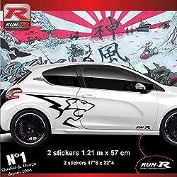 ADNAuto 12893 Autocollants Pack de 2 Stickers Latéraux 208 207 206 Lion Peugeot Sport, Set de 2