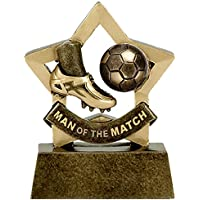 "3.25"" Antique Gold MINI STAR Man of the Match Football Trophy with FREE engraving up to 30 letters A1698"