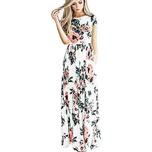 Kleider Damen Floral Print Kurzarm Lange Maxi Kleid Von Xinan (M, Weiß)