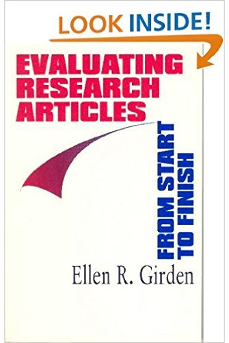 Evaluating Research Articles from Start to Finish by Ellen R. (Robinson) Girden (1996-10-10)