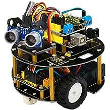 Keyestudio Kit de iniciación para Arduino, coche inteligente, evita los obstáculos, seguimiento por infrarrojos, control remoto por Bluetooth, chasis de coche robot, DIY