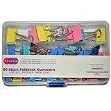 Foldback Klammern - 3 Größen - 60 Stück - bunt gemsicht