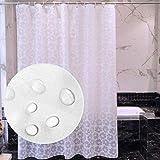 YL Wasserdichter Duschvorhang, halbtransparente Farbe Gesundheit und Sicherheit Bad Duschvorhänge Anti-Mildew Jacquard Polyester Dicker Duschvorhang mit Kunststoffhaken, einschließlich Größen,300 cm