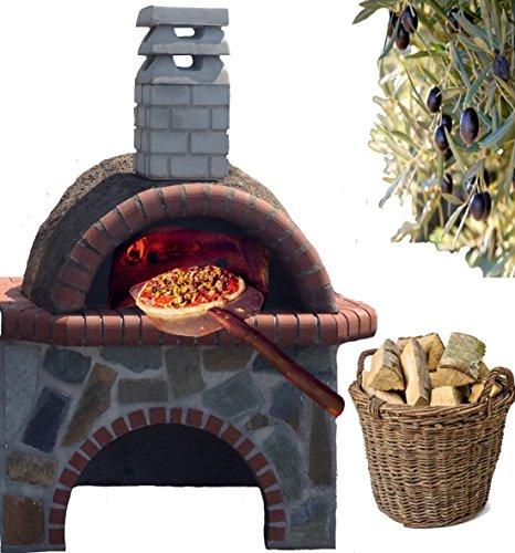 Holzbackofen mit Untertisch Smart Pizzaofen Naturstein Colorato