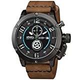 INFANTRY® Herren Analoges Quarzwerk Armbanduhr Edelstahl Leuchtend Outdoor Chronograph Echtleder Armband World Peacekeepers