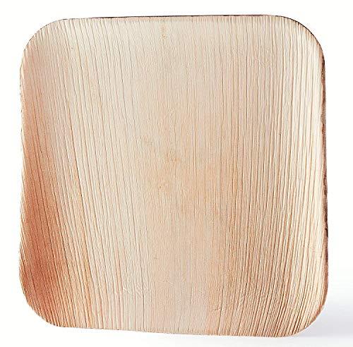Palmblattteller 25/100/200 Stück Einwegteller eckig 25x25 cm / 20x20cm / 15x15cm, aus Palmblatt 100% kompostierbar, umweltfreundlich stilvoll Bio Palmblattgeschirr Set für BBQ, Party, Grillen Outdoor