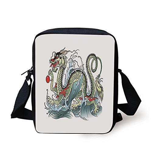 CBBBB Japanese Dragon,Far Eastern Water Dragon Splashing Waves Legend Creature,Pale Green Vermilion Sage Print Kids Crossbody Messenger Bag Purse Kraft Sage Green