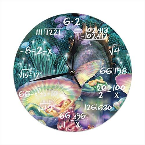 Uosliks Underwater World Beautiful Mermaid Seashell Art Wall Clock Silent & Non-Ticking Round Clock Math Quiet Desk Clock for Home Office School -