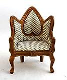 Puppen Haus Miniatur Viktorianischer Wickel Herz Rückseite Nussbaum Arm Stuhl