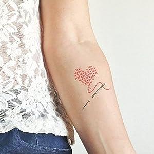 Kreuzstich Herz – 2 Temporäre Tattoos