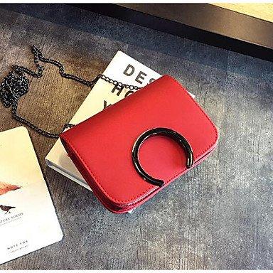 SUNNY KEY-Borsa a tracolla @ Donna Borsa a tracolla PU (Poliuretano) Per tutte le stagioni Casual Cerniera Verde Nero Rosso , red black