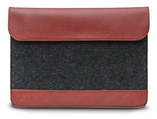 GoFree Felt Sleeve Case for iPad Mini (All Generations)/8 & 7 inch Tablets – Simple. Beautiful. Practical – Exquisite Felt & Faux Leather Fusion (Charcoal Grey/Caramel Brown)